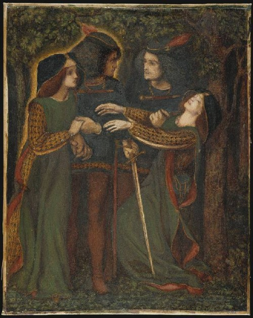 How They Met Themselves, 1864, Dante Gabriel Rossetti, bodycolour on paper, backed onto fine linen and on a stretcher , height 339 mm, width 273 mm.