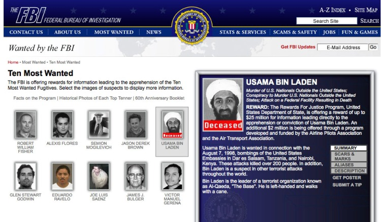 Osama Bin Laden marked deceased on FBI Ten Most Wanted List May 3 2011 (Photo credit: Wikipedia)