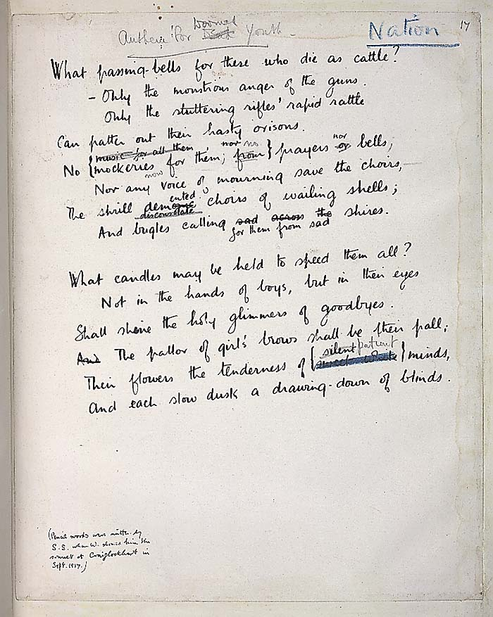 Wilfred Owen, Anthem for Doomed Youth, 1917 (The Wilfred Owen  Multimedia Digital Archive: public domain)