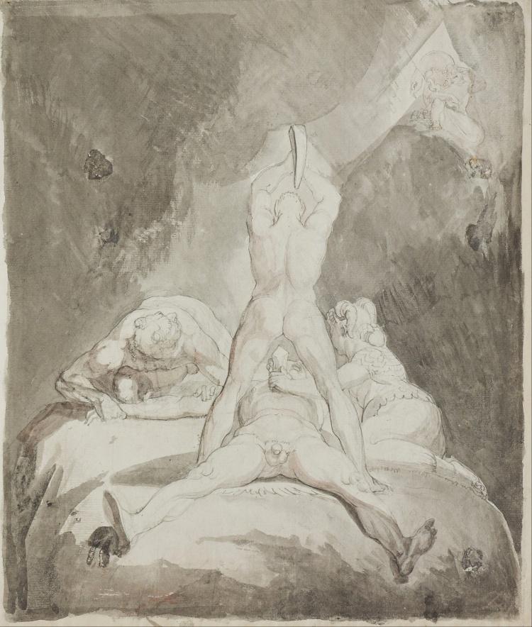 Henry Fuseli - Hephaestus, Bia and Crato Securing Prometheus on Mount Caucasus (photo credit: Wikipedia_
