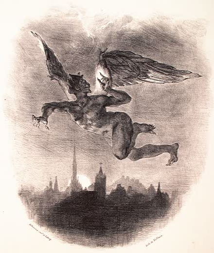 Mephistopheles Over Wittenberg, Eugène Delecroix, 1839 (photo credit: Wikipedia)