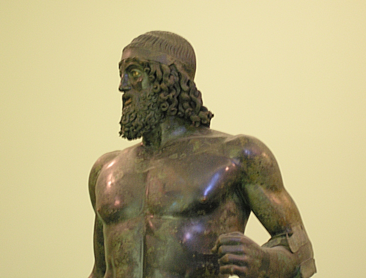 Riace bronzes - Statue A (detail): (photo credit: Wikipedia)