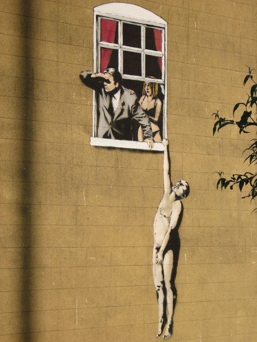 'Lovers' - Banksy, Park Street, Bristol (Photo credit: Richard Cocks)